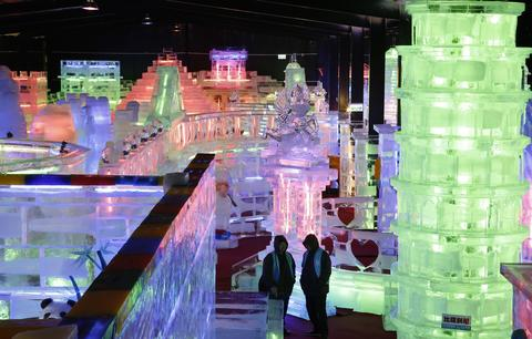 "Pisa Tower ice sculpture displayed at ""Fantasy Ice World"" on January 23, 2014 in Taipei, Taiwan."