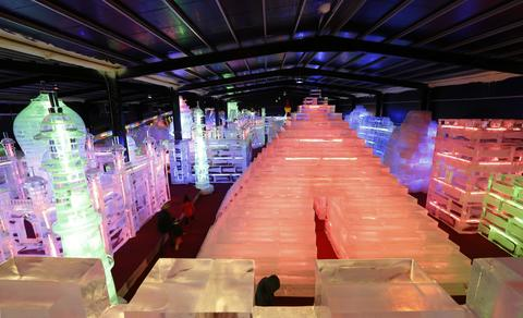 "Pyramid ice sculpture displayed at the ""Fantasy Ice World"" on January 23, 2014 in Taipei, Taiwan."