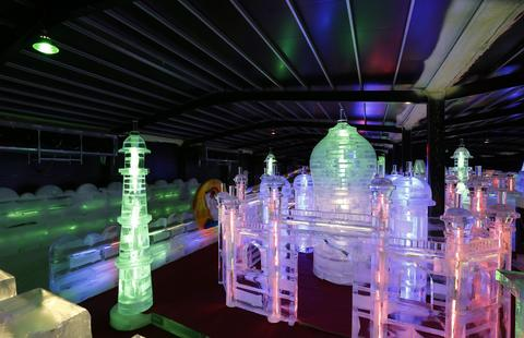 "Taj Mahal ice sculpture displayed at the ""Fantasy Ice World"" on January 23, 2014 in Taipei, Taiwan."