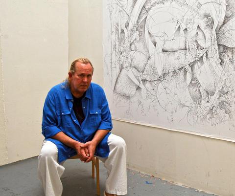 Paul Harryn working on Views of a Secret Noosphere.