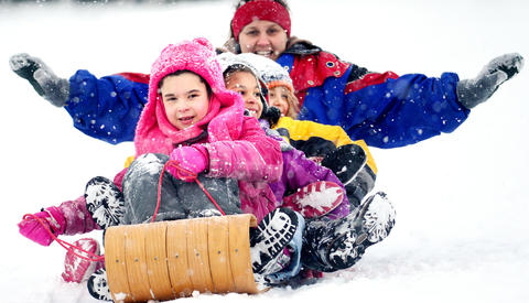 Big fun in the snow on the large hill in Catasauqua Park draws this group of friends to toboggan. Front to back are: Mikaela Evans, 9, of Bethlehem; Victoria Phillips, 7, of Bethlehem; Caleb Bleiler, 10 of Catasauqua; Vakira Bleiler (Caleb's sister - age not given) of Catasauqua and Meegan Kopchak of Catasauqua.