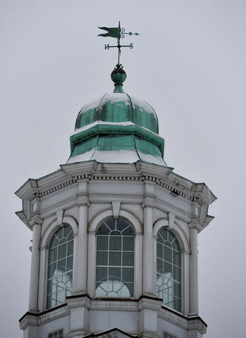 Snow accents the bell tower part of the Emmaus Moravian Church in Emmaus on Saturday, January 25, 2014.