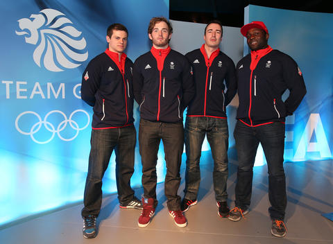 (l-r) Craig Pickering, Ben Simons, John Baines and Lamin Deen pose during the Team GB Kitting Out ahead of Sochi Winter Olympics.