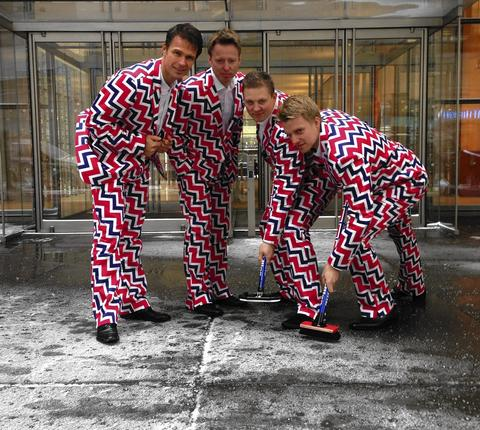 The Norwegian men's curling team for the shows off their Loudmouth Golf-designed curling uniform for the 2014 Olympics in New York City.