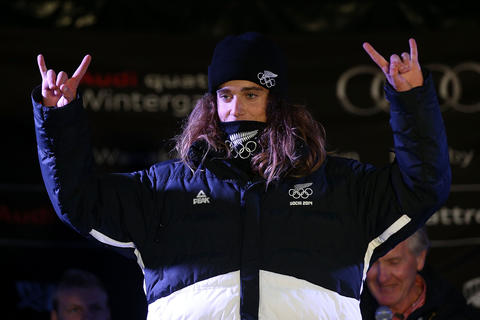 Beau-James Wells models the 2014 Winter Olympic Team uniform during the Closing Ceremony for the Winter Games NZ.