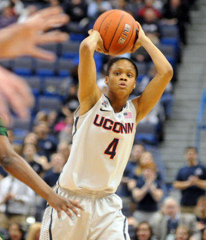 UConn's Moriah Jefferson seeks an opening.