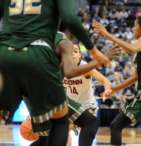 UConn's Bria Hartley looks for a way in.