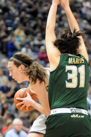UConn's Breanna Stewart under the basket.