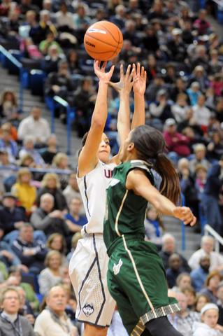 UConn's Bria Hartley takes a shot.