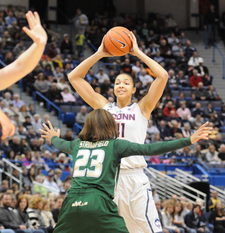 UConn's Kiah Stokes looks to pass.