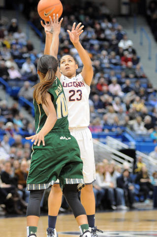 Kaleena Mosqueda-Lewis shoots as the UConn Women met South Florida at the XL Center in Hartford Sunday.