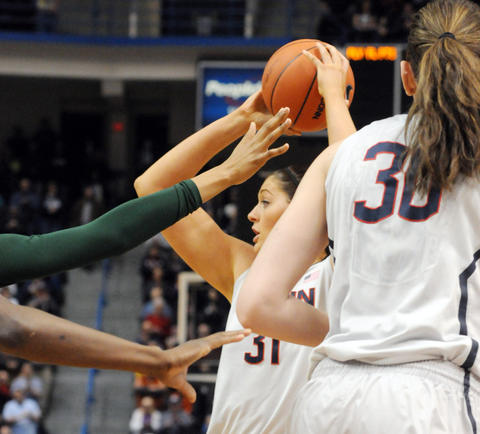 UConn's Stefanie Dolson, center looks for an opening.
