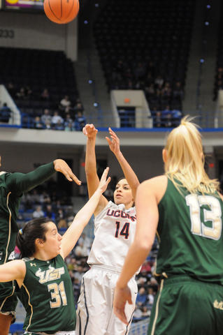 UConn's Bria Hartley takes a shot as the UConn Women met South Florida.