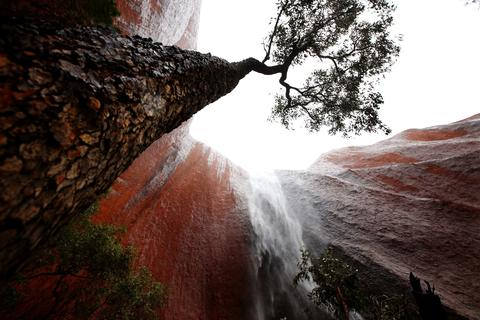 A waterfall is seen in Kantju Gorge as it rains at Uluru on November 28, 2013 in Uluru-Kata Tjuta National Park, Australia. Uluru/ Ayers Rock is a large sandstone formation situated in central Australia approximately 335km from Alice Springs. The site and its surrounding area is scared to the Anangu people, the Indigenous people of this area and is visited by over 250,000 people each year.