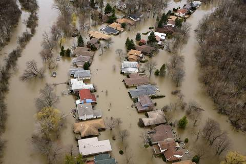 An aerial view shows flooding in Desplaines along the Des Plaines River.