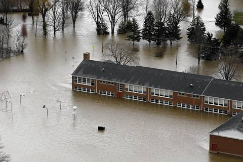 An aerial view shows flooding in Gurnee along the Des Plaines River.