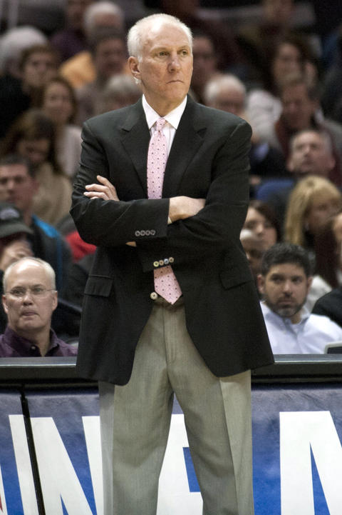 Spurs coach Gregg Popovich reacts during the first half.
