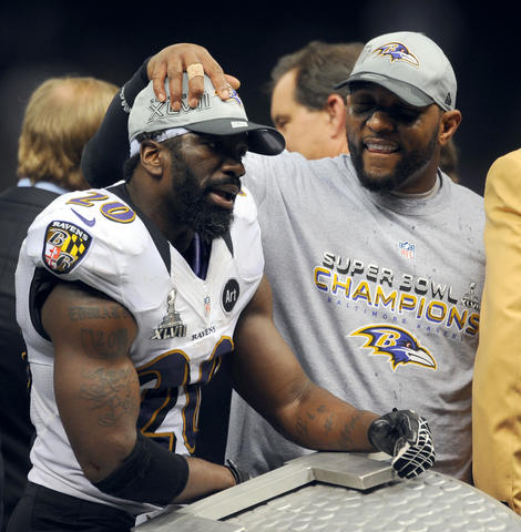 Ed Reed and Ray Lewis embrace after the game.