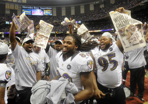 The Ravens celebrate their Super Bowl victory.