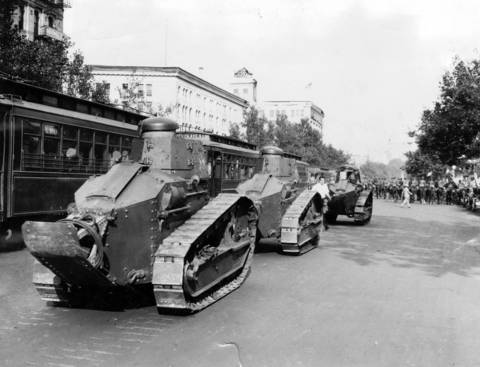 War machines rumbled down Pennsylvania Avenue to oust the unemployed war veterans from their shacks near the capitol in July of 1932. The veterans were seeking their bonus checks from the government.