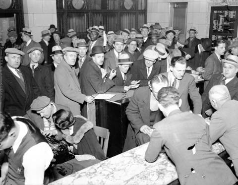 World War I vets line up for Bonus Application Blanks in the Hearst Square lobby, circa Feb. 6, 1936.
