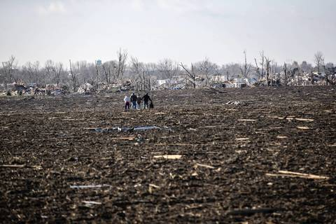 A group of people searches through a field in Washington, Ill.