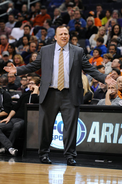 Bulls coach Tom Thibodeau reacts from the sidelines against the Suns in the first half at US Airways Center.