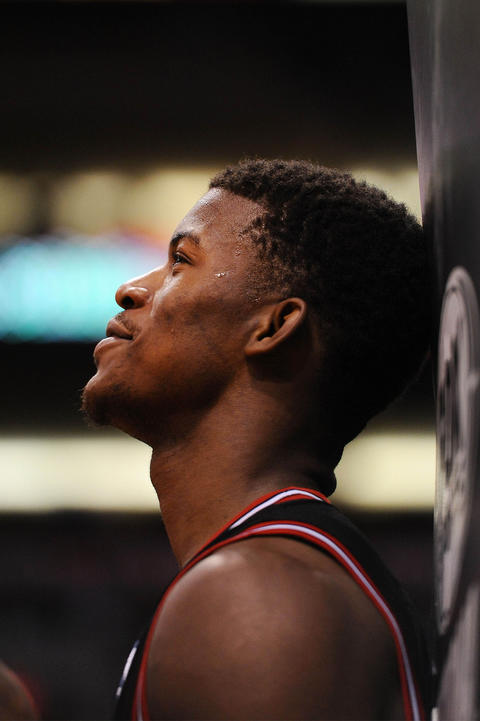 Jimmy Butler leans against the stanchion in the second half.