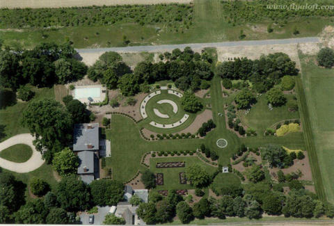 "An aerial view of Alice Ryan's gardens at Knightly in Easton. Note the axial design and the four garden ""rooms."""