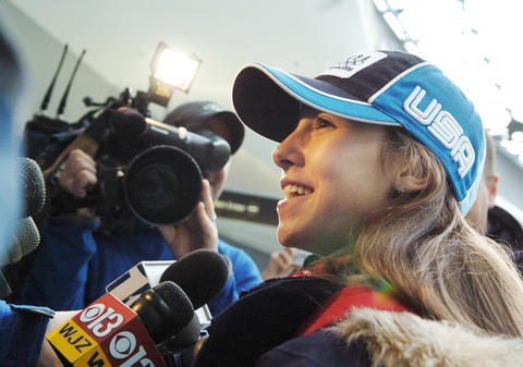 Kimmie Meissner speaks to reporters upon returning to the U.S. after the Olympics.