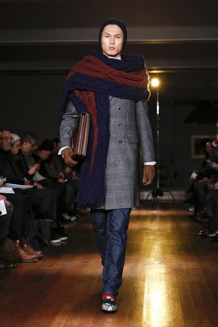 A model walks the runway at the Michael Bastian fall 2014 fashion show at Rubin Museum of Art on Feb. 4, 2014, in New York City.