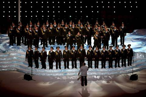 "The Ministry of Internal Affairs choir sings ""Get Lucky"" during the Opening Ceremony of the Sochi 2014 Winter Olympics."