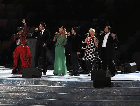 "Singers from ""The Voice"" Russia perform during the Opening Ceremony."