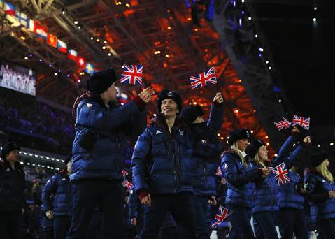 he Great Britain Olympic team enters the Opening Ceremony of the Sochi 2014 Winter Olympics.