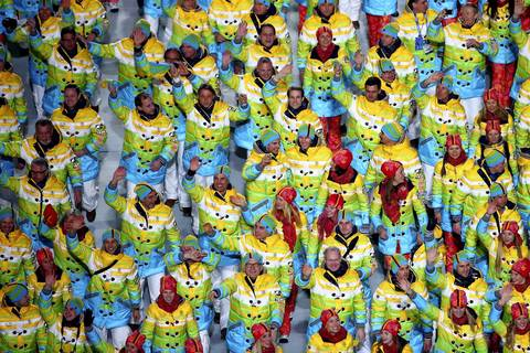 Germany's Olympic team enters the stadium during the opening ceremony of the Sochi 2014 Winter Olympics.