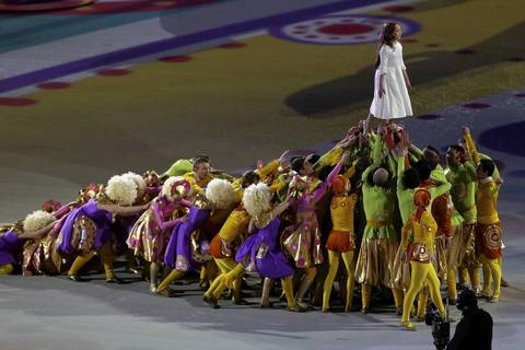 "Liza Temnikova, as Lyubov, performs ""Rites of Spring"" during the opening ceremony."