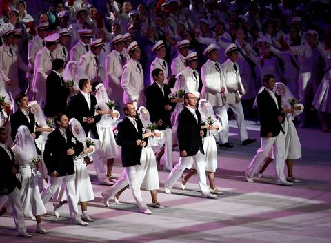 Dancers take the stage during the opening ceremony for the Winter Olympics