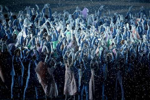 "Costumed performers take part in the ball scene from ""War and Peace,"" during the opening ceremony for the Winter Olympics."