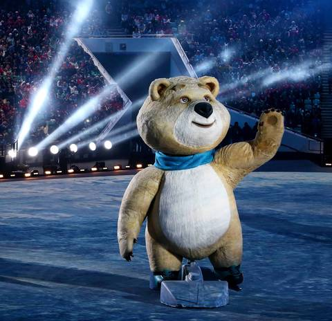The polar bear mascot moves through Fisht Olympic Stadium