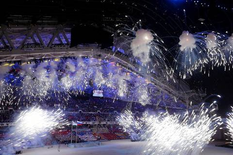 Fireworks go off inside Fisht Olympic Stadium during the opening ceremony for the Winter Olympics.