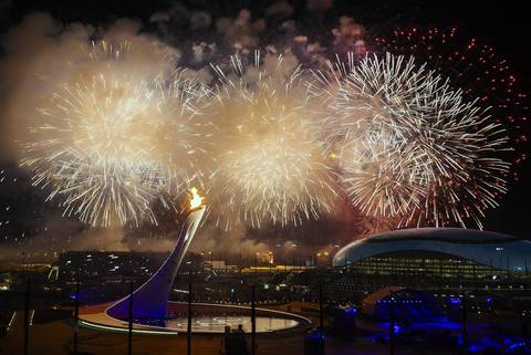 Fireworks go off over the Olympic Park at the end of the opening ceremony.