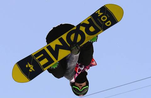 Norway's Staale Sandbech competes in the men's snowboard slopestyle final at the Rosa Khutor Extreme Park.