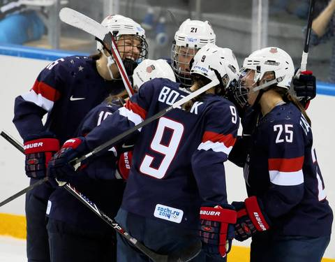 U.S. forward Alex Carpenter (25) celebrates her goal against Finland during the second period in a women's hockey game at the Winter Olympics.