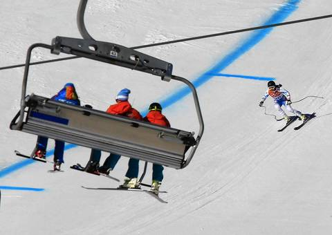 Austria's Elisabeth Goergl takes part in a aomen's alpine akiing downhill training session at the Rosa Khutor Alpine Center.
