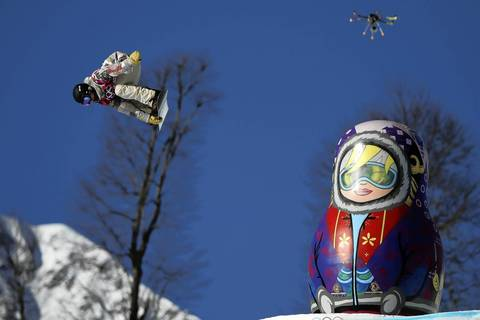 U.S. snowboarder Sage Kotsenburg takes first place during the men's snowboard slopestyle final at the Rosa Khutor Extreme Park.