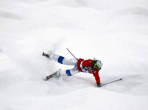 Tereza Vaculikova (CZE) crashes during ladies' moguls qualification at Rosa Khutor Extreme Park.
