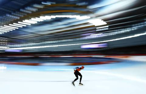 Sven Kramer of the Netherlands competes during the men's 5000m speedskating event at Adler Arena Skating Center.