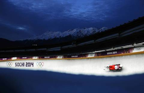 Reinhard Egger, of Austria, makes a run during the luge men's singles at the Sanki Sliding Center.