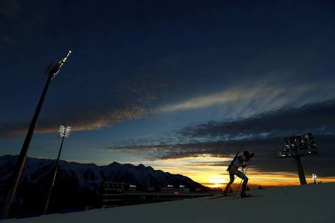 Tomas Kaukenas, of Lithuania, competes in the men's sprint 10km at Laura Cross-country Ski & Biathlon Center.