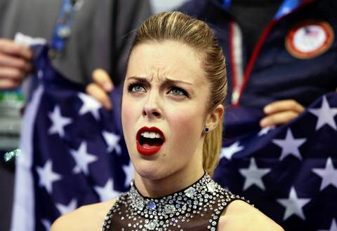 Ashley Wagner of the United States reacts to her score after competing in the figure skating team ladies short program at Iceberg Skating Palace.